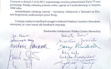 Solidarność Polsko-Czesko-Słowacka solidarna z Tatarami na Krymie. W Cieszynie i Czeskim Cieszynie podpisano petycję ponad podziałami